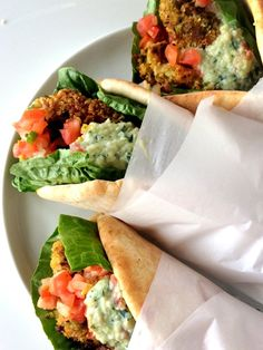 Easy vegan gyros made with seasoned chickpea falafels, stuffed into warm pitas and topped with nut free tzatziki sauce. A simple, tasty lunch or weeknight dinner. Healthy Dinner Ideas for Delicious Night & Get A Health Deep Sleep Vegan Vegetarian, Vegetarian Recipes, Cooking Recipes, Healthy Recipes, Vegan Avocado Recipes, Vegan Dishes, Going Vegan, The Best, Food Processor Recipes