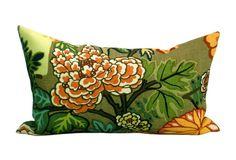 Schumacher Chiang Mai Dragon pillow cover in Mocha