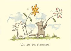 We're The Champions - Anita Jeram Art And Illustration, Animal Drawings, Cute Drawings, Anita Jeram, Kawaii, Nursery Art, Cat Art, Penny Black, Zentangle