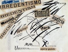 Filippo Tommaso Marinetti Irredentismo, 1914 encre, pastel et collage sur papier, 21,8 x 27,8 cm collection privée, Lugano