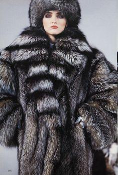silver fox fur coat