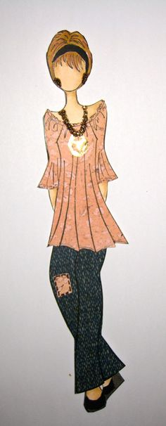 Hippy Prima Doll, shortened the dress and drew jeans