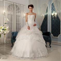 Gauze Beading Ruffle Sweetheart Sleeveless Brush Train Ball Gown Wedding Dress