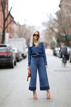 How to Wear Denim Culottes for Fall