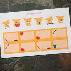 Cute Fox Stickers for Erin Condren Life Planner, Plum Paper Planner, Filofax, Kikki K, Calendar or Scrapbook AI-104 by adrianapiper on Etsy
