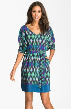 I want this dress, too bad I probably can't fit my boobies into it...LOL!!! Presley Skye 'Laura' Print Blouson Silk Dress available at #Nordstrom