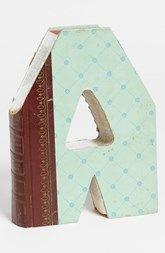 'One of a Kind Letter' Hand-Carved Recycled Book Shelf Art