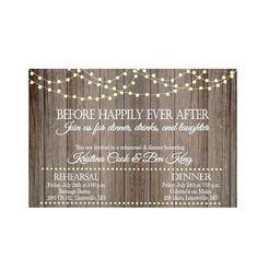 Vintage Lights on Rustic Wood Rehearsal Dinner Invitation, rehearsal and dinner invite, wedding rehearsal dinner invitation-Print Your Own