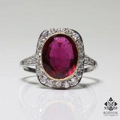 Antique Art Deco Platinum Diamond & 2.8ct. Tourmaline (GIA Certified) Ring