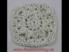 äkeln - Granny für Decke oder Teppich aus Grande von Junghans-Wolle Squares, Crochet Hats, Beanie, Youtube, Scrappy Quilts, Handarbeit, Ideas, Knitting Hats, Beanies