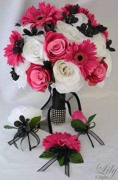 Dark pink, black and white Wedding Bridal Bouquet Silk Flowers + boutonniere and corsage