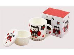 Porcelánový hrnek 390 ml se sítkem a víčkem - černá sova Mugs, Tableware, Dinnerware, Tablewares, Mug, Place Settings