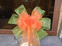Sheer Lime green and orange wreath bow by creativelycarole on Etsy