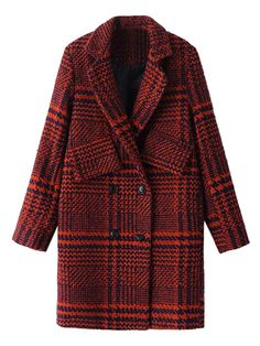 Red Houndstooth Lapel Double Breasted Wool Blend Coat