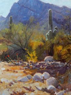 Tucson Territory Arizona landscape painting by Robin Weiss Original art painting by Robin Weiss - DailyPainters.com