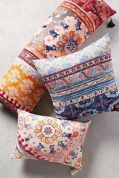 Shop unique accent pillows aplenty—from feminine to boho to floral printed styles, Anthropologie has a wide selection. Shop our accent pillows today. Anthropologie Home, Anthropologie Pillows, Pillow Room, Boho Stil, European Home Decor, Textiles, Home And Deco, Home Living, Living Room
