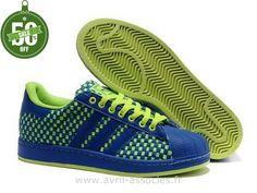 Boutique Hommes Adidas Superstar Tissent Vert Jaune Bleu (Adidas Superstar 2 Femme)