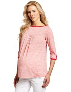 Maternal America Women's Maternity Boat Neck Top, Heather Red/Red, Small Maternal America. $76.00