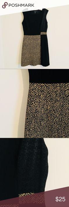 Nine West Black and Gold Sparkle Sheath Dress Nine West Black and Gold Sparkle Sheath Dress, textured color block pattern Nine West Dresses