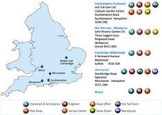 Service Area MAP | Happy Hot Tubs | Hot Tub Service, Tubs For Sale, Happy Hot, Area Map, Hot Tubs, Portsmouth, Southampton, Hampshire, Birmingham