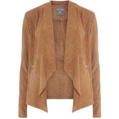 Dorothy Perkins **Tall Suedette Rib Sleeve Jacket ($75) ❤ liked on Polyvore featuring outerwear, jackets, coats, brown, waterfall jacket, beige waterfall jacket, brown jacket, tall jackets and dorothy perkins