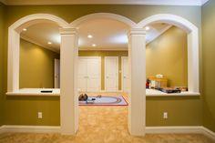 Decorative columns in basement remodel