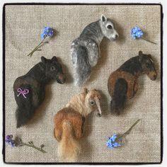 Needle felted pony brooches by Naomi Coffin. #needlefeltedpony # needlefelted #horses