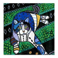 Cat Shower Curtains  Folk Art by Heather by HeatherGallerArt, $90.00