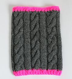 Cable Knit Cowl Neon Pink and Grey Cowl, COWL by SOVAknits