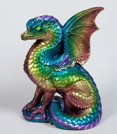 Spectral Dragon Handmade Statue -- Rainbow -- Windstone Editions -- Beautifully Detailed Drake Figurine -- 514-R