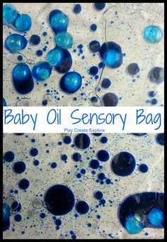 Play Create Explore: Baby Oil Sensory Bags = baby oil, food colouring, a little bit of water, glitter, objects to find (smooth). Put in ziplock bag and duct tape for leaks and little fingers who would like to open it. Toddler Play, Baby Play, Toddler Crafts, Sensory Activities, Infant Activities, Sensory Toys, Sensory Table, Sensory Boards, Sensory Bottles