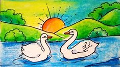 Drawing Pictures For Kids, Scenery Drawing For Kids, Easy Drawings For Kids, Painting For Kids, Art For Kids, Swan Drawing, Baby Drawing, Colour Drawing, Oil Pastel Drawings