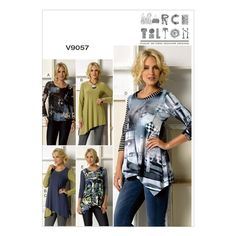 Visit the pattern department in store to browse our patterns available in store.Pullover top (close-fitting through bust) has neckline and shaped hemline variations. Wrong side shows on hemline. A: ra