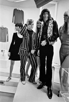 Betsey Johnson (in striped suit) with Nico, far right, of the Velvet Underground and the French singer Antoine at Paraphernalia in 1966. - NYTimes.com