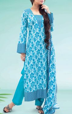 Buy Turquoise Printed Cotton Lawn Salwar Kameez by Warda Print Lawn 2015.