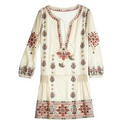 CALYPSO St. Barth Nona Embroidered Drop Waist Dress (£195) ❤ liked on Polyvore featuring dresses, tops, vestidos, cream cc, boho dress, white plunge dress, white sequin dress, white embroidered dress and white shirt dress