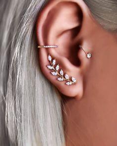 Prom Earrings, Bride Earrings, Prom Jewelry, Ear Jewelry, Cuff Earrings, Cute Jewelry, Silver Earrings, Silver Ear Cuff, Cartilage Earrings