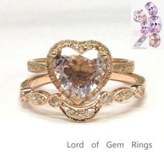 Heart Shaped Morganite Engagement Ring Sets Pave Diamond Wedding 14K Rose Gold 8mm Curved Band - Lord of Gem Rings - 1