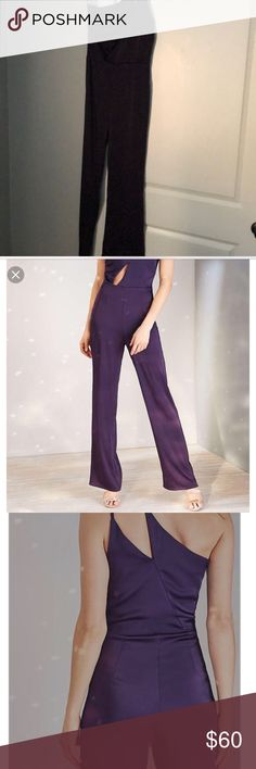 OML purple silk jumpsuit NWT purple jumpsuit. 100% polyester.  Super sexy with cut outs. Urban Outfitters Dresses One Shoulder