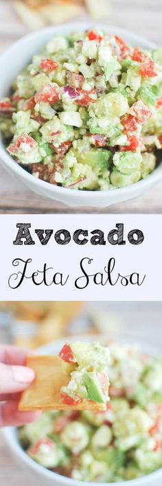 Avocado Feta Salsa - you won't believe how addictive this dip is!
