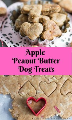 Apple peanut butter dog treats are a homemade and wholesome cookie to make for your puppies! They're easy to make with just a few ingredients and dogs love them! This dog biscuits recipe is always a fun gift for dog lovers! Homeade Dog Treats, Frozen Dog Treats, Puppy Treats, Puppy Food, Homemade Dog Food, Healthy Dog Treats, Apple And Peanut Butter, Peanut Butter Dog Treats, Homemade Peanut Butter