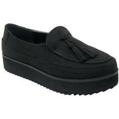Qupid Tiki-04 Vegan Creeper Loafers (black, clearance)