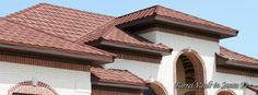 stile metal spanish roof pictures | CT spanish Red - Product page Spanish Tile, Roof Tiles, House Roof, Metal Roof, Pergola, Exterior, Outdoor Structures, Cabin, House Styles