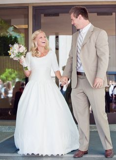 #wedding #dress #sleeves #modest #simple #lds #mormon #temple