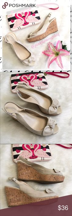 Franco Sarto Cream Leather Bow Peep Toe Wedges Soft leather peep toe sling back wedges from Franco Sarto. Nude cream color with knotted bows on the vamp and a wedge platform. EUC only worn once. Seasonal color closet staple easy to pair with almost anything. Wear with a sundress or maxi dress and you're all set. Franco Sarto Shoes Wedges