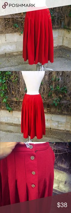 14 plus size red vintage pleated button skirt New. Size 14 fit. Gold Side buttons. Polyester blend . Francesca Esker owner of LexiCo Fashion is a celeb who has been on many red carpet appearances in her unique style.  A few mini holes. Designer from London. High WAIST: 28-29 HIP: open LENGTH: 29 (BUST TO HEM) Jaeger London  Skirts Circle & Skater