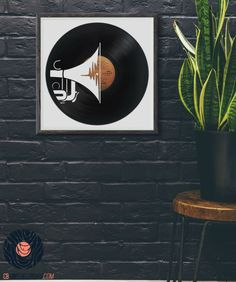 Trumpet - Art, interior design and upcycled vinyl record