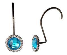 Chrome Shower Curtain Hooks With Decorative Crystal Rhinestone Jewels, Set  Of 12 (Purple)