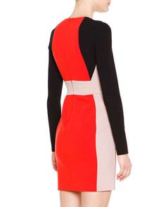 B2YFN Emilio Pucci Long-Sleeve Colorblock Dress