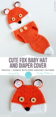 Foxy Baby Accessories Free Crochet Patterns Cute Fox Baby Hat and Diaper Cover Free Crochet Pattern Newborn Crochet, Crochet Baby Hats, Crochet Gifts, Baby Knitting, Free Crochet, Crochet Beanie, Crochet Diaper Covers, Crochet Diaper Bag, Crochet Baby Stuff